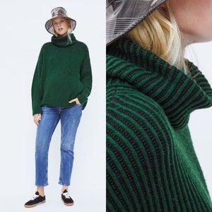 Zara Knit Green Oversized Turtleneck Sweater